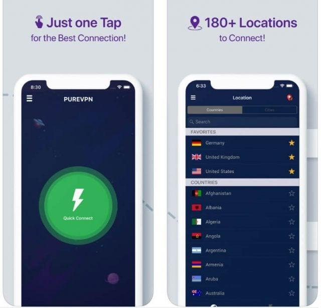 PureVPN iOS app