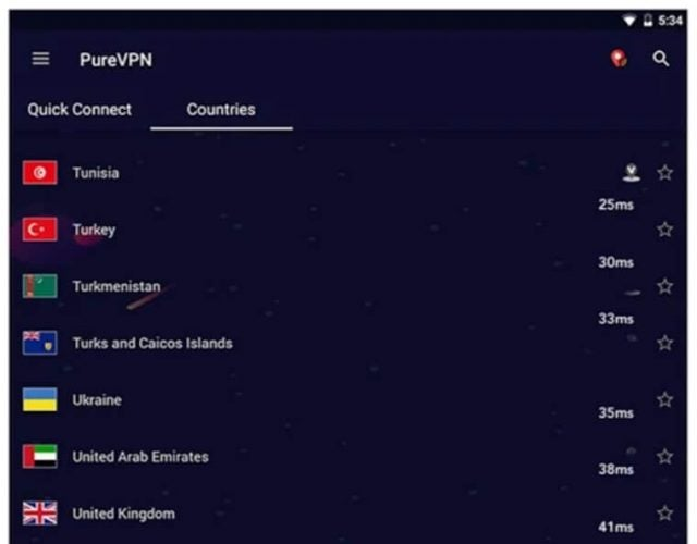 Countries listed in the PureVPN Android app