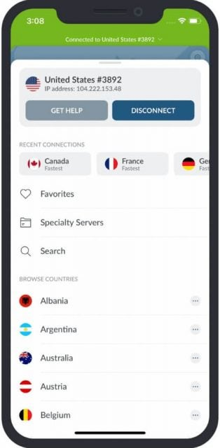 Recent connections viewed on the NordVPN iOS app