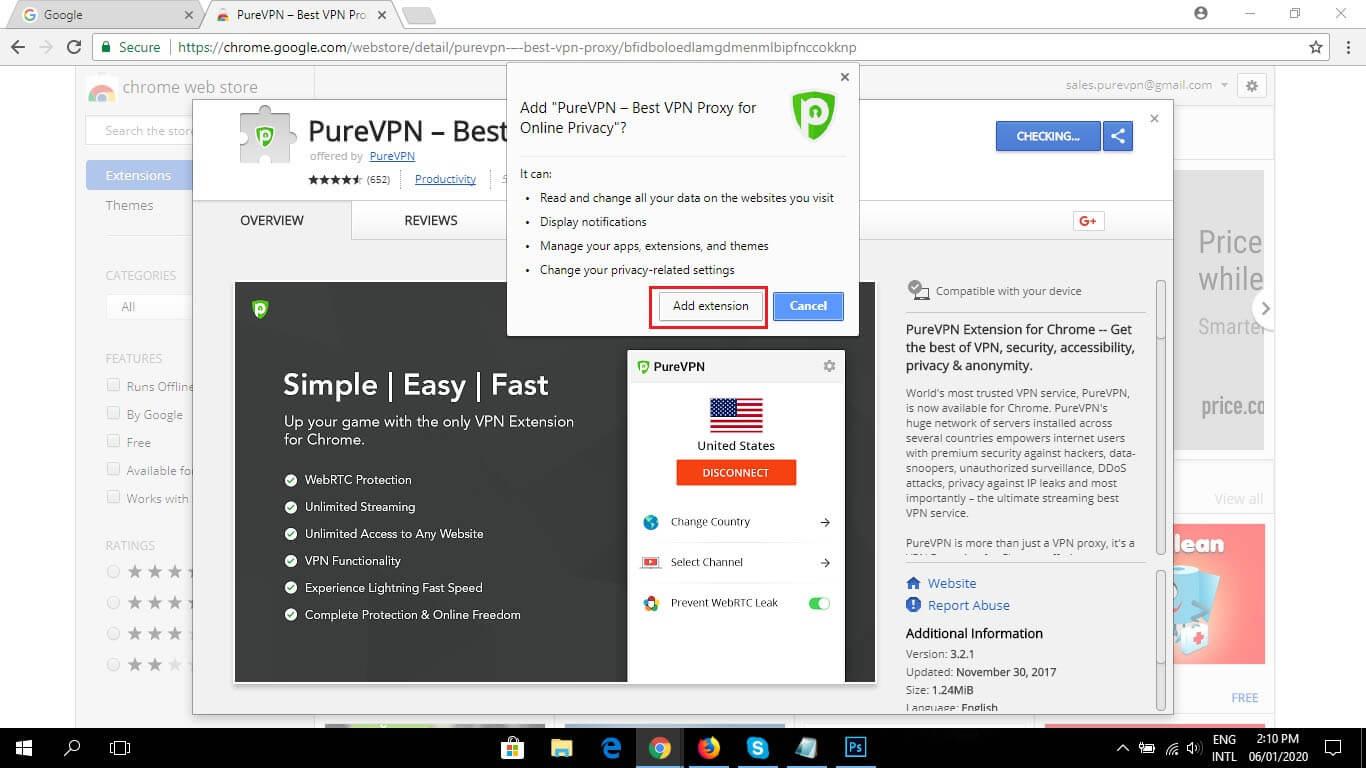 PureVPN Chrome browser extension