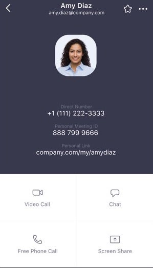 Zoom Mobile App Contact