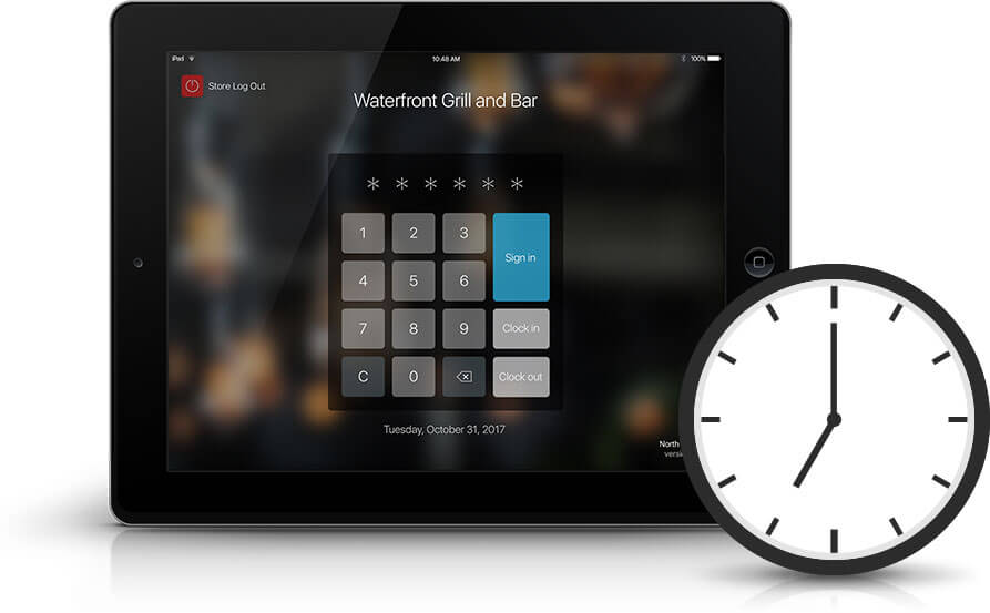 Talech POS has clock-in timesheets