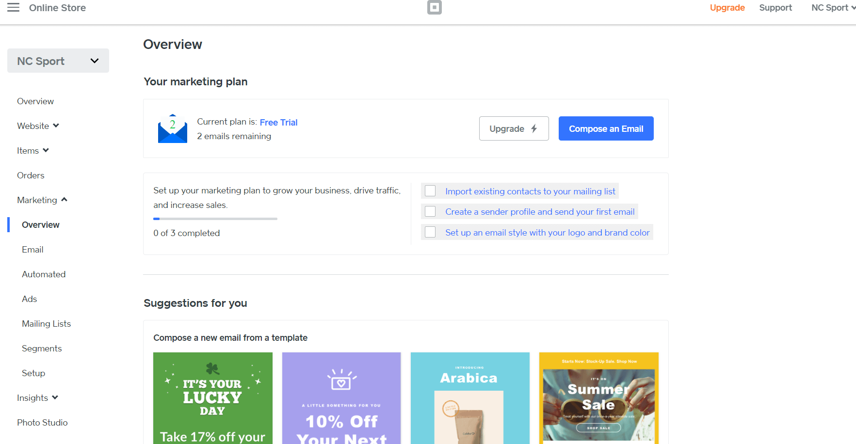 square online store marketing dashboard