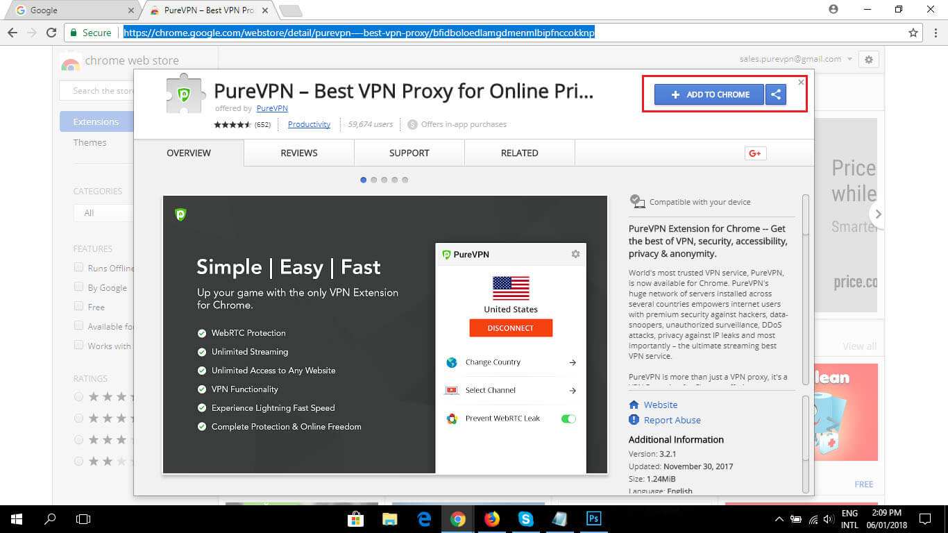 The PureVPN Chrome extension