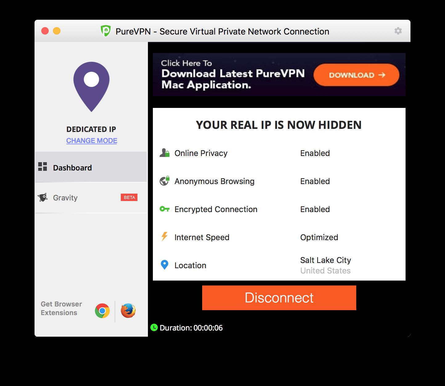 PureVPN's dedicated IP mode