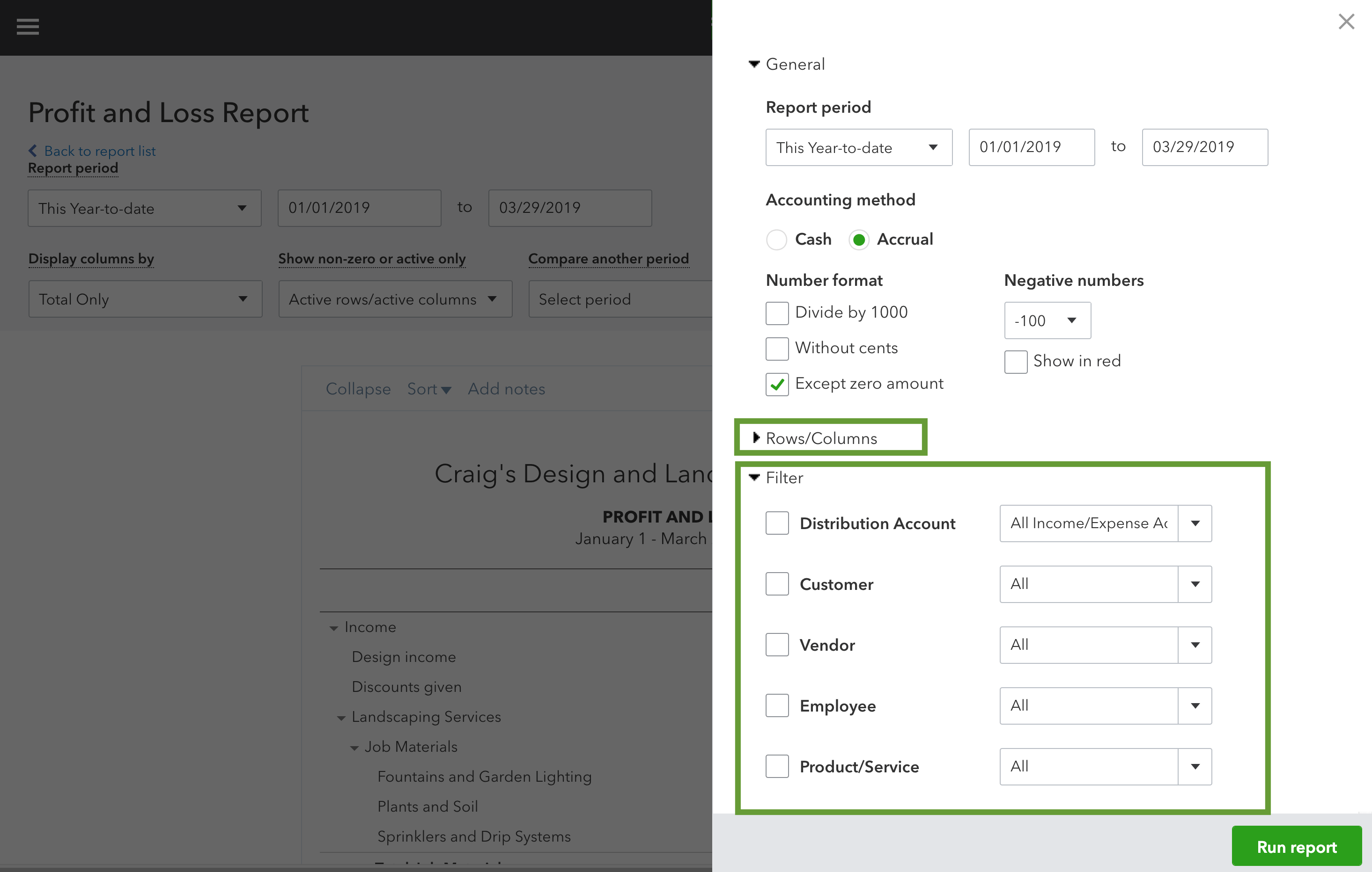QuickBooks: Customizable report