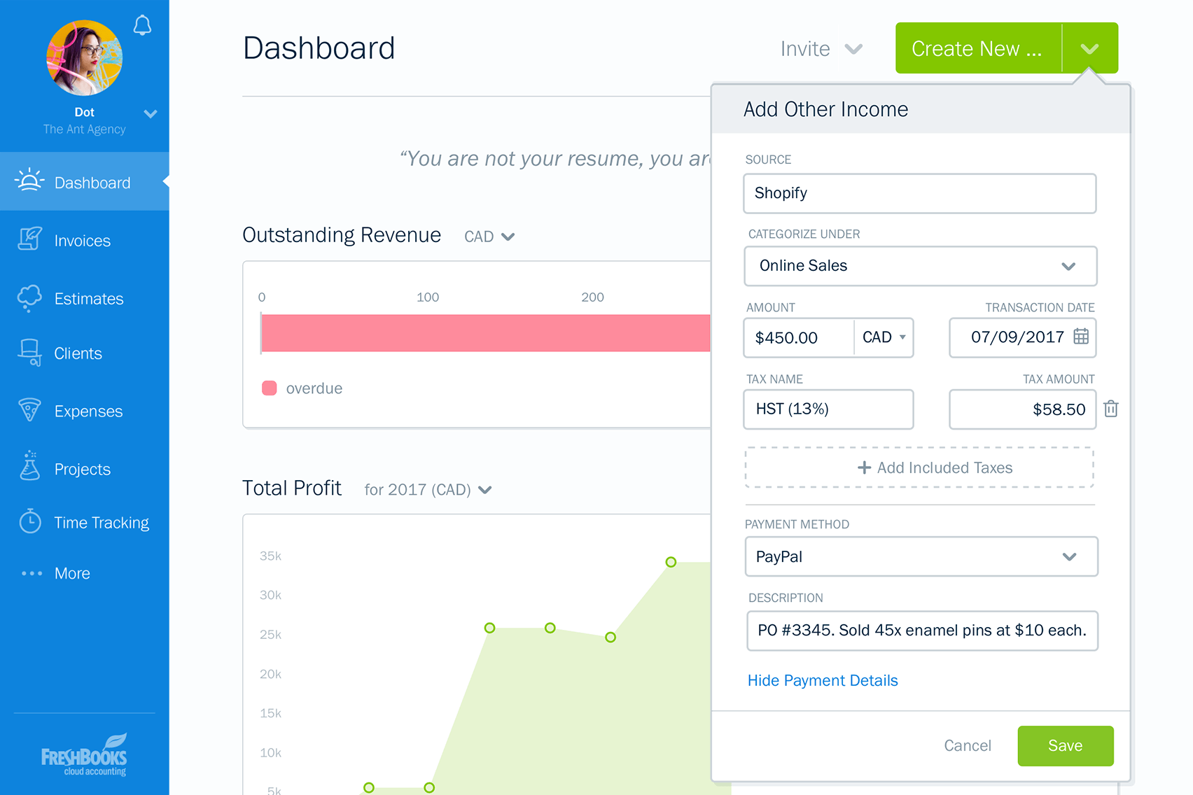 FreshBooks: adding other income