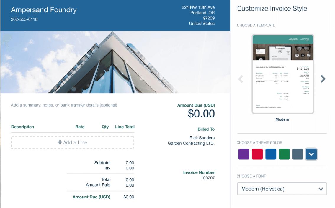 FreshBooks: customizing invoice
