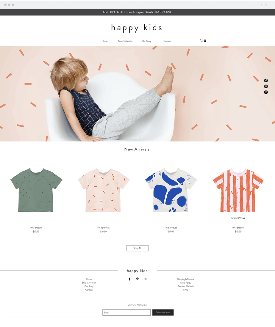 Wix Ecommerce: example site
