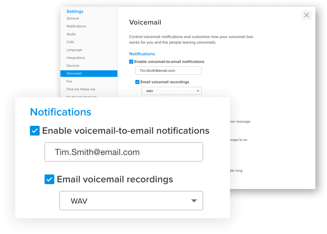 GoToConnect voicemail to email