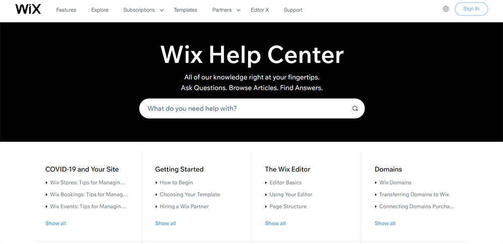 wix help and support