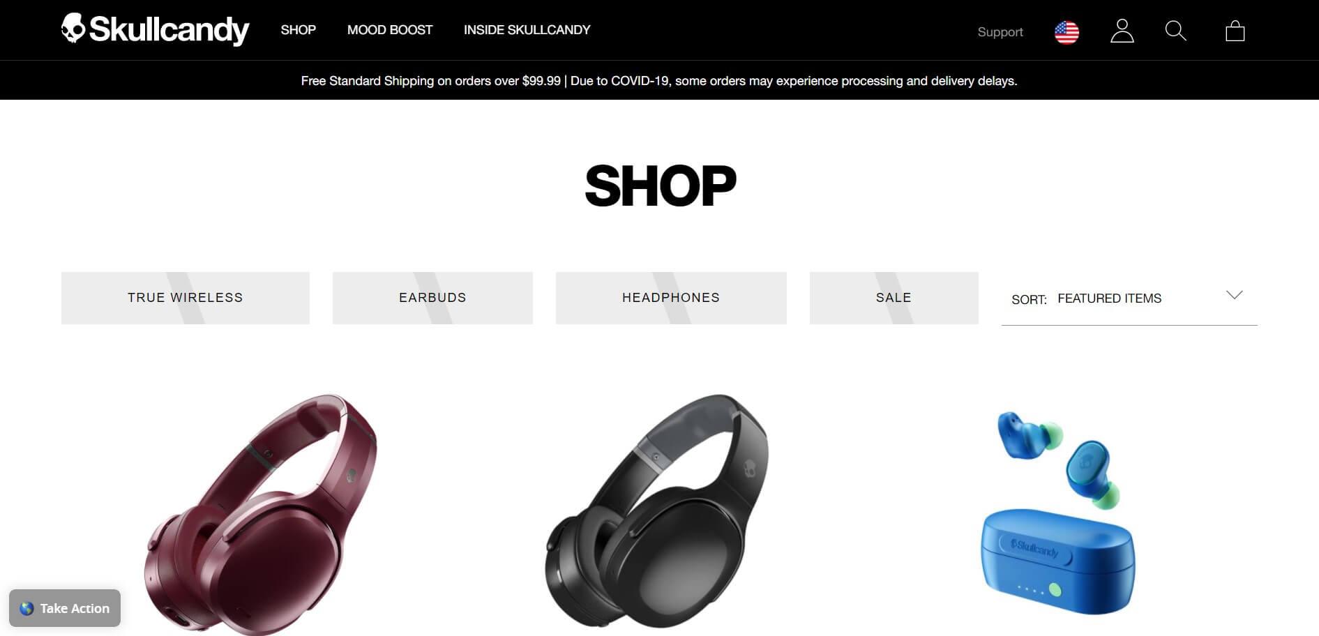 BigCommerce example site: Skullcandy