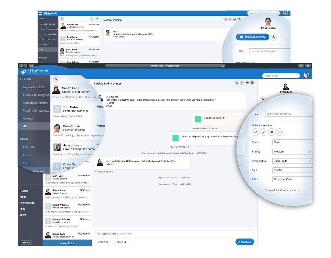 TeamViewer service desk dashboard