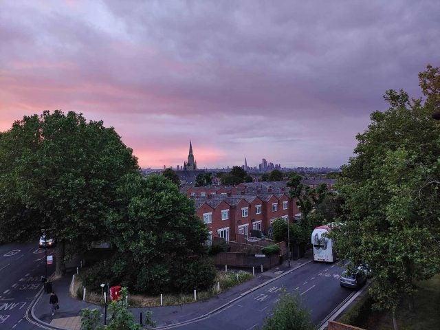 london skyline with sunset