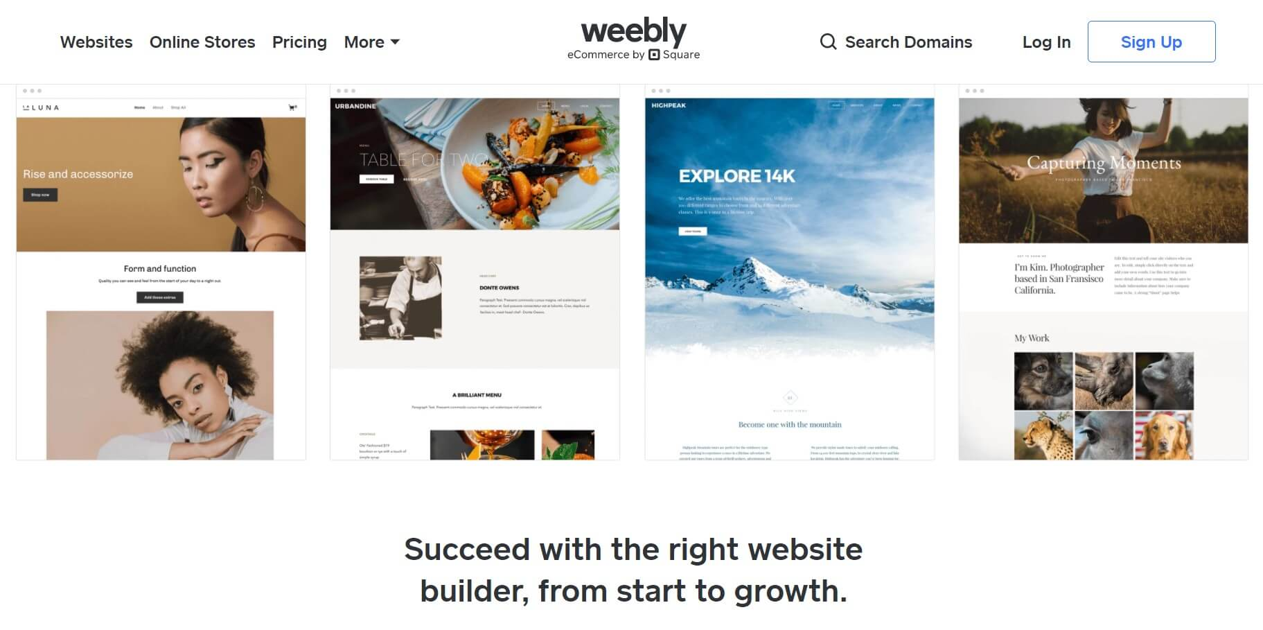 Weebly build websites example