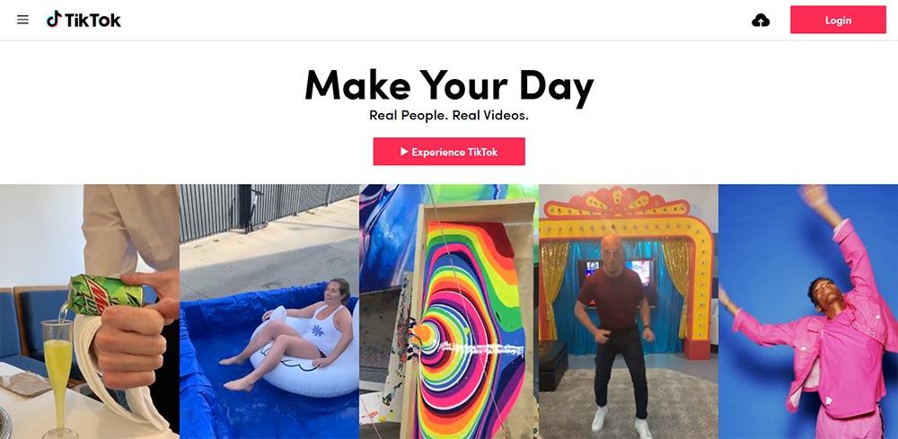 Tiktok homepage