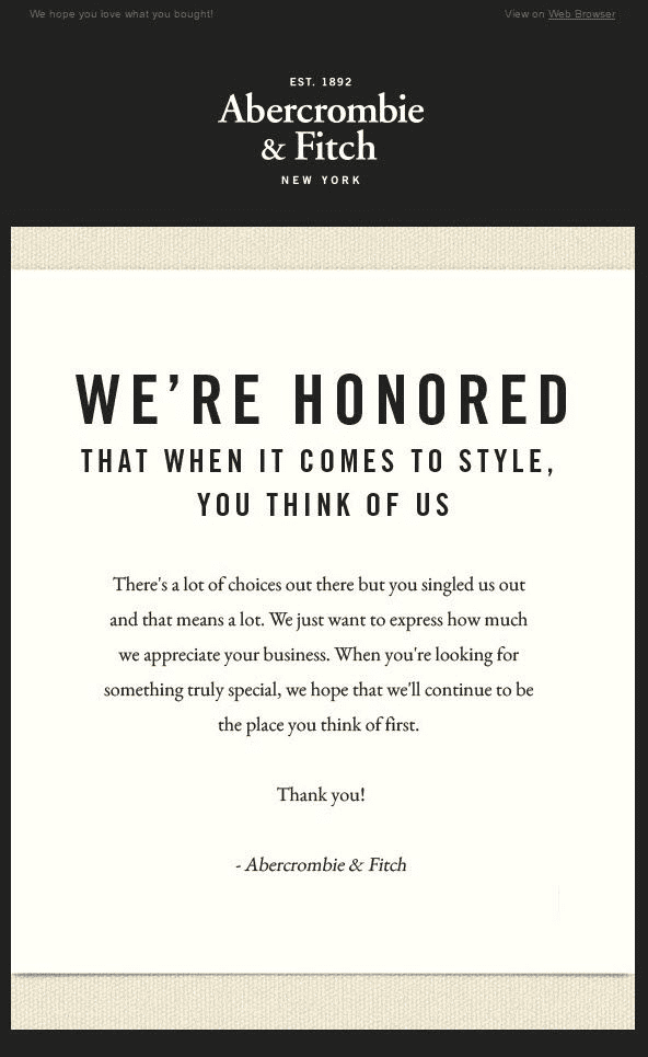 Abercrombie Fitch Thank You Email