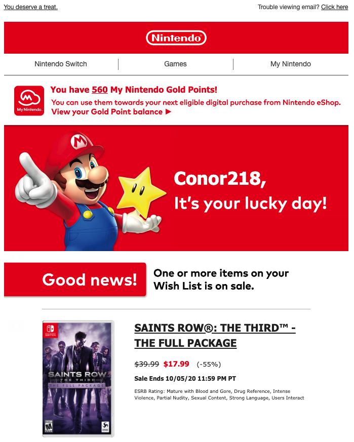 Nintendo Switch Email