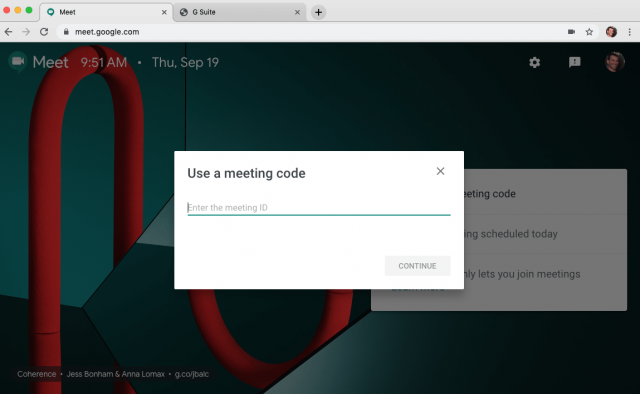 Google Meet Meeting Code
