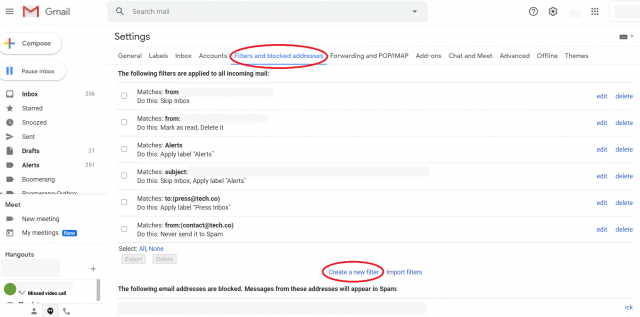 Gmail screenshot - Settings to create rules for spam and filters