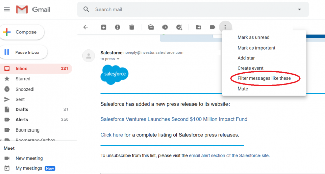 Gmail screenshot - how to filter a message