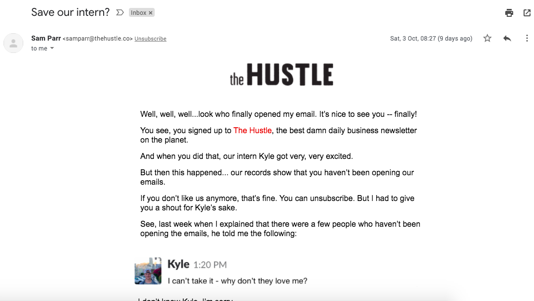 Re-engagament email example from The Hustle