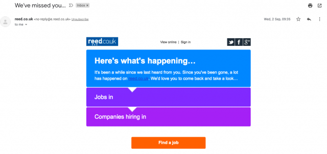 A re-engagement email from Reed.co.uk