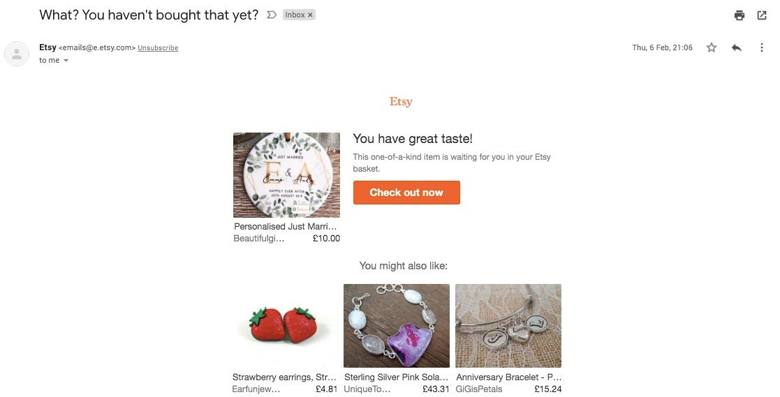 A basket retargeting email from Etsy