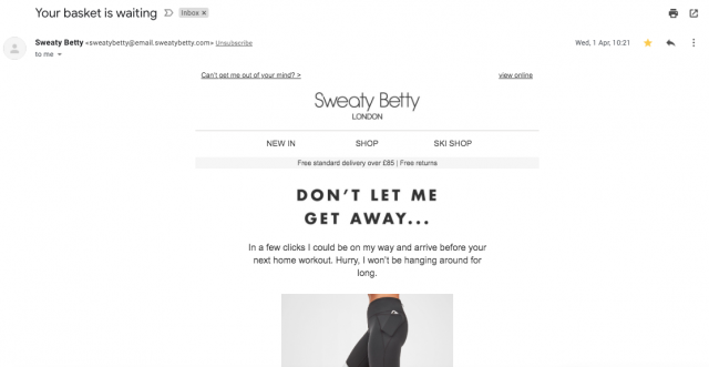 A basket retargeting email from Sweaty Betty