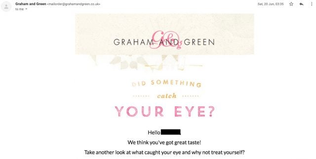 A basket retargeting email from Graham and Green