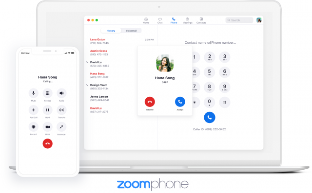 Zoom Phone VoIp service on laptop and mobile