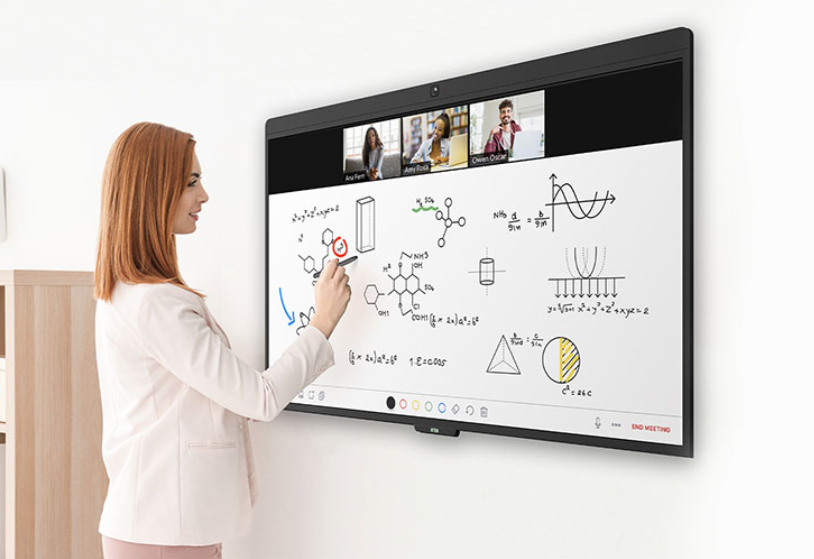 Zoom Education. Teacher writing on virtual whiteboard for students on video call