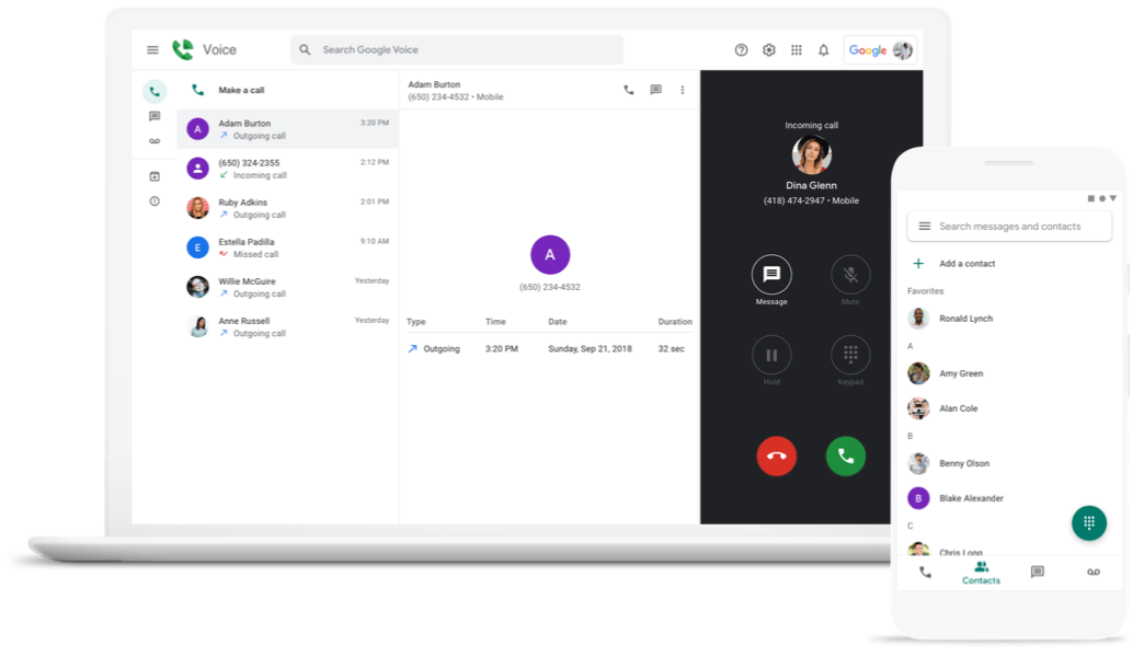 Google Voice shown on laptop and mobile