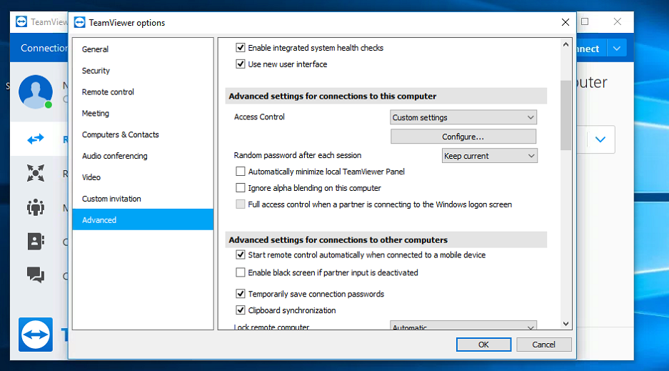 TeamViewer Options Screen