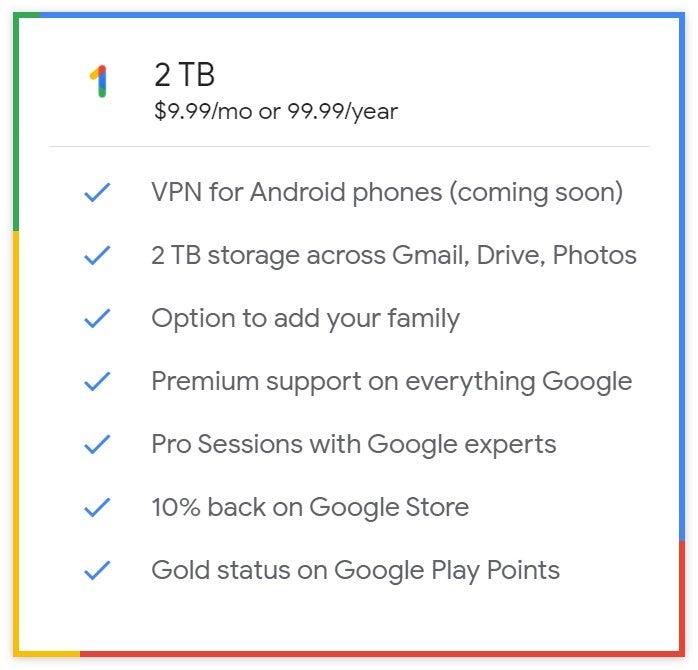 Google One 2T plan