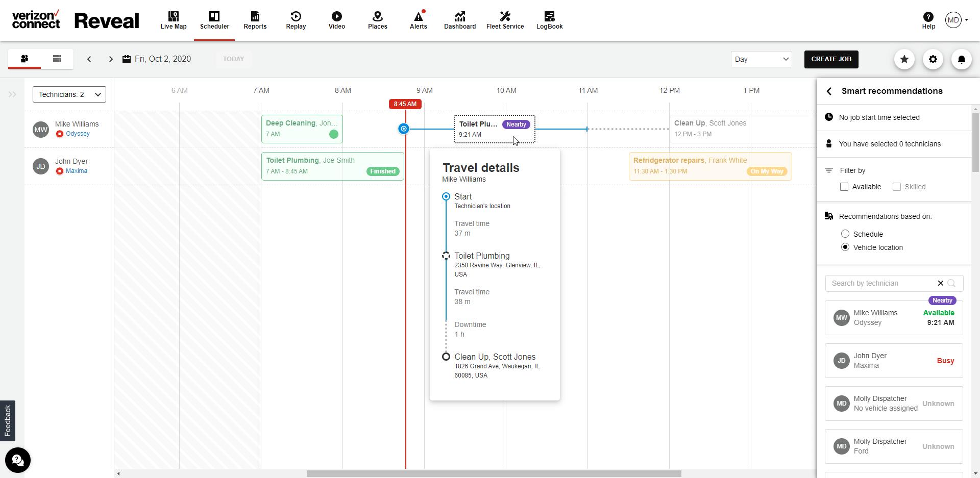 Verizon Connect smart scheduling