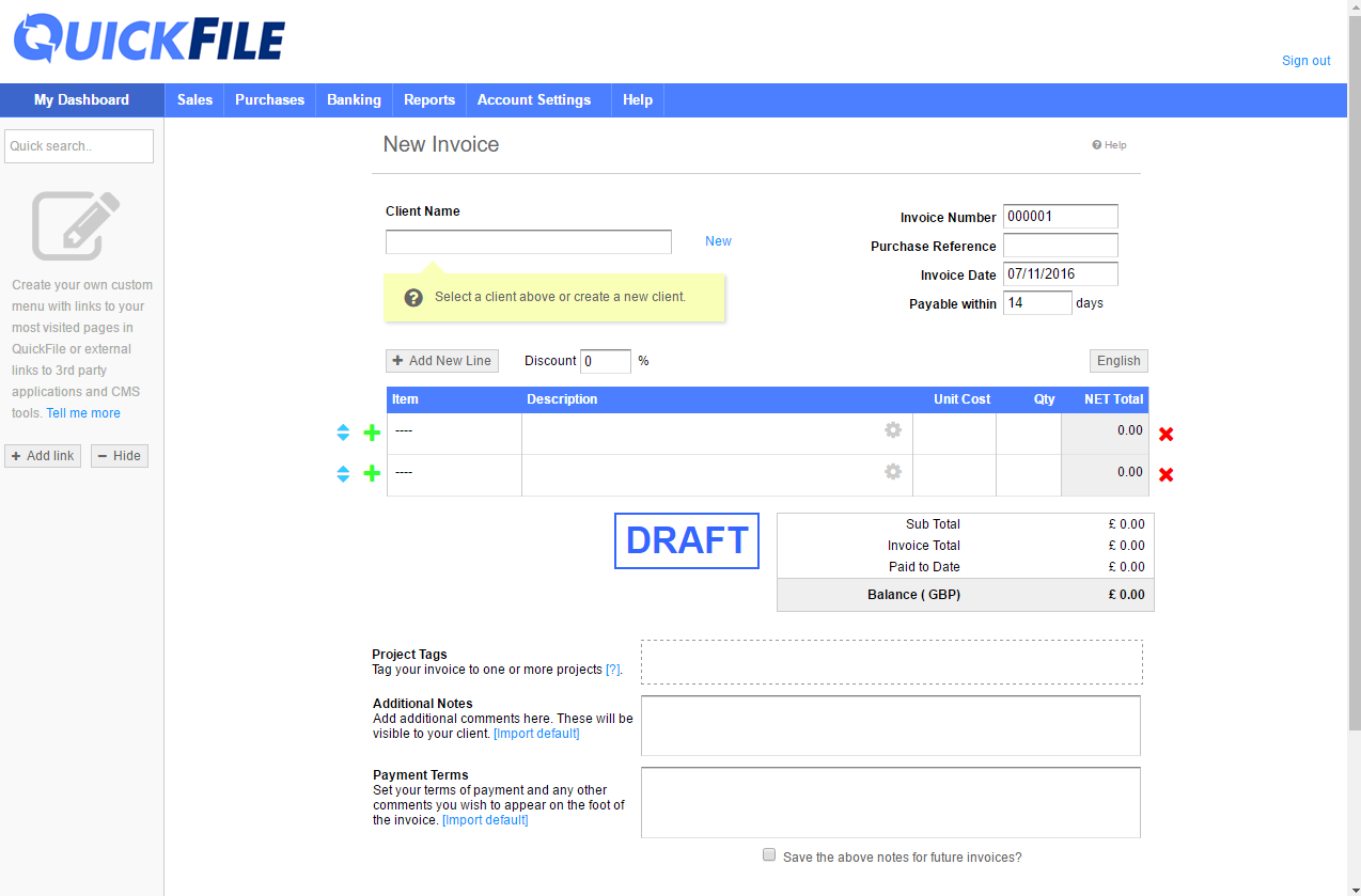 QuickFile Interface