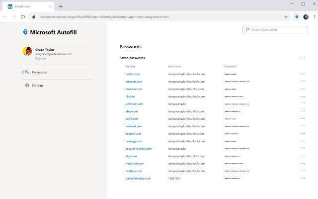 Microsoft Auto Fill passwords selection
