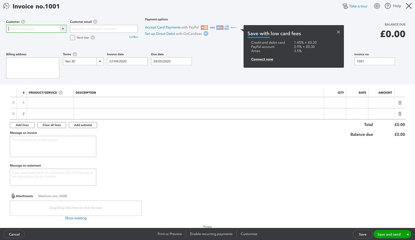 QuickBooks' invoice template
