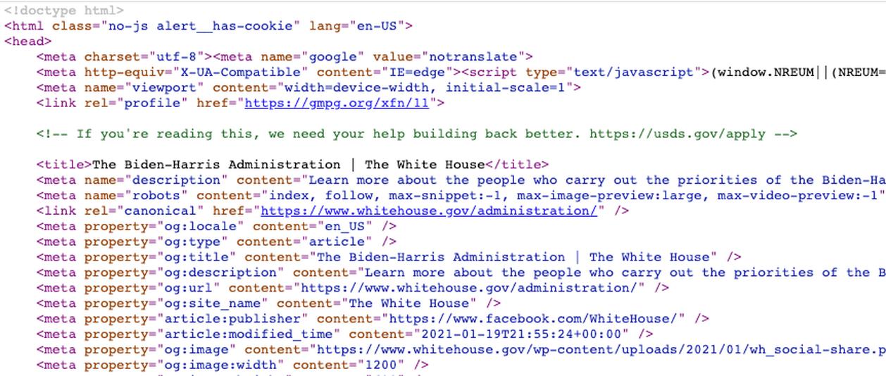 White House Website Code