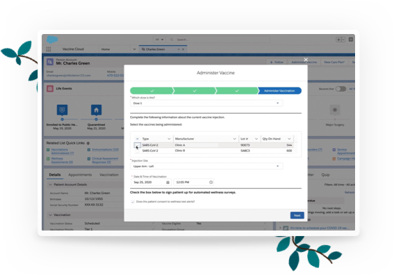 Salesforce Vaccine Cloud - Scheduling Capabilities - Software Screenshot