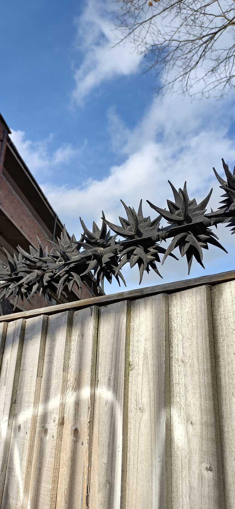 anti climb spikes on top of wooden fence