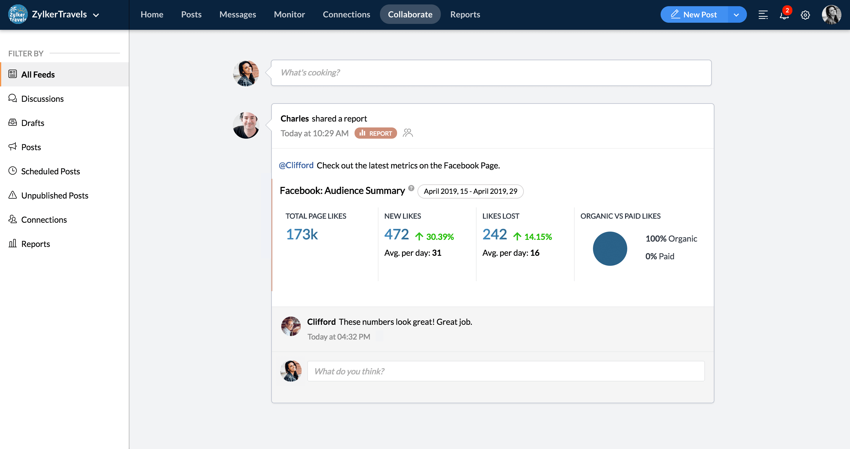 Zoho Social: agents collaborate