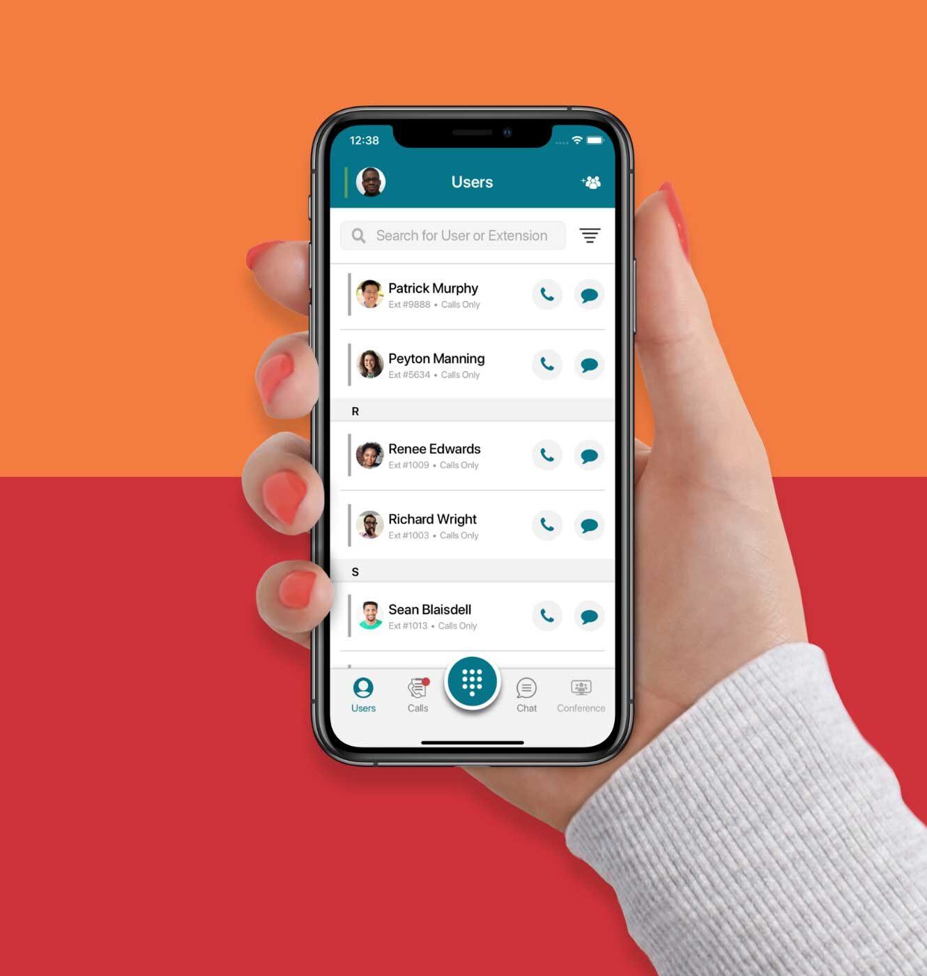 Ooma mobile app showing phonebook