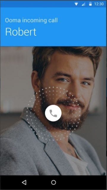 ooma mobile app showing incoming call