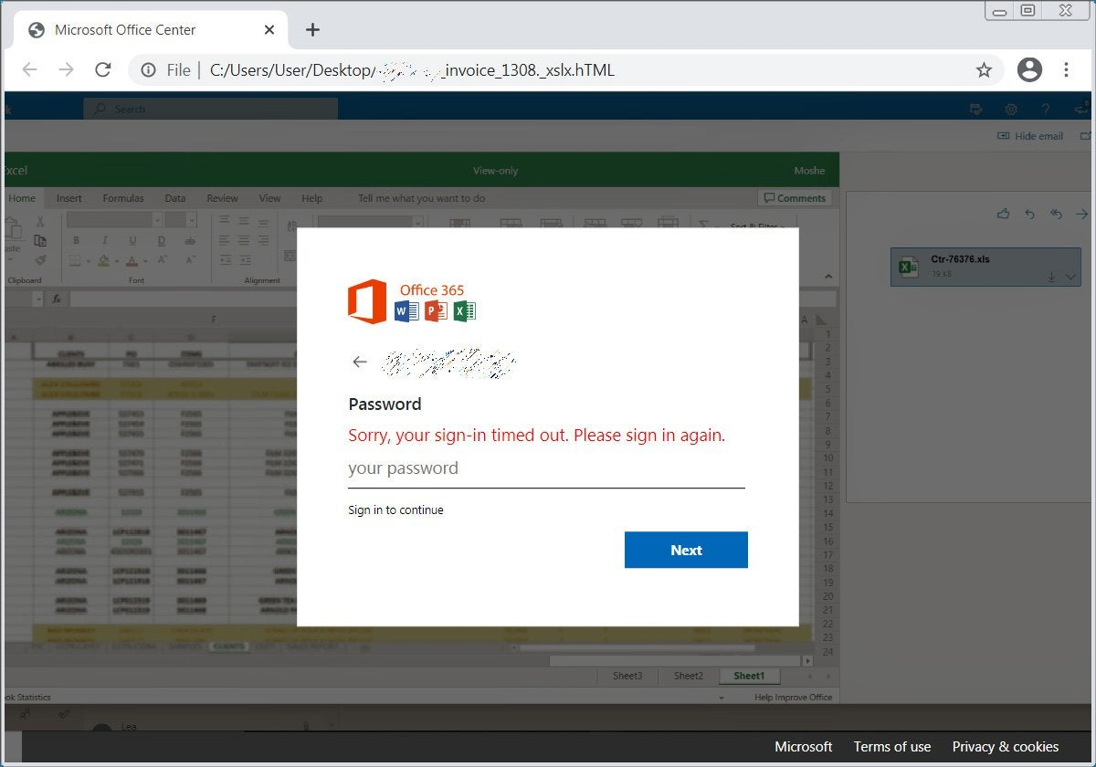 Fake Office 365 sign-in