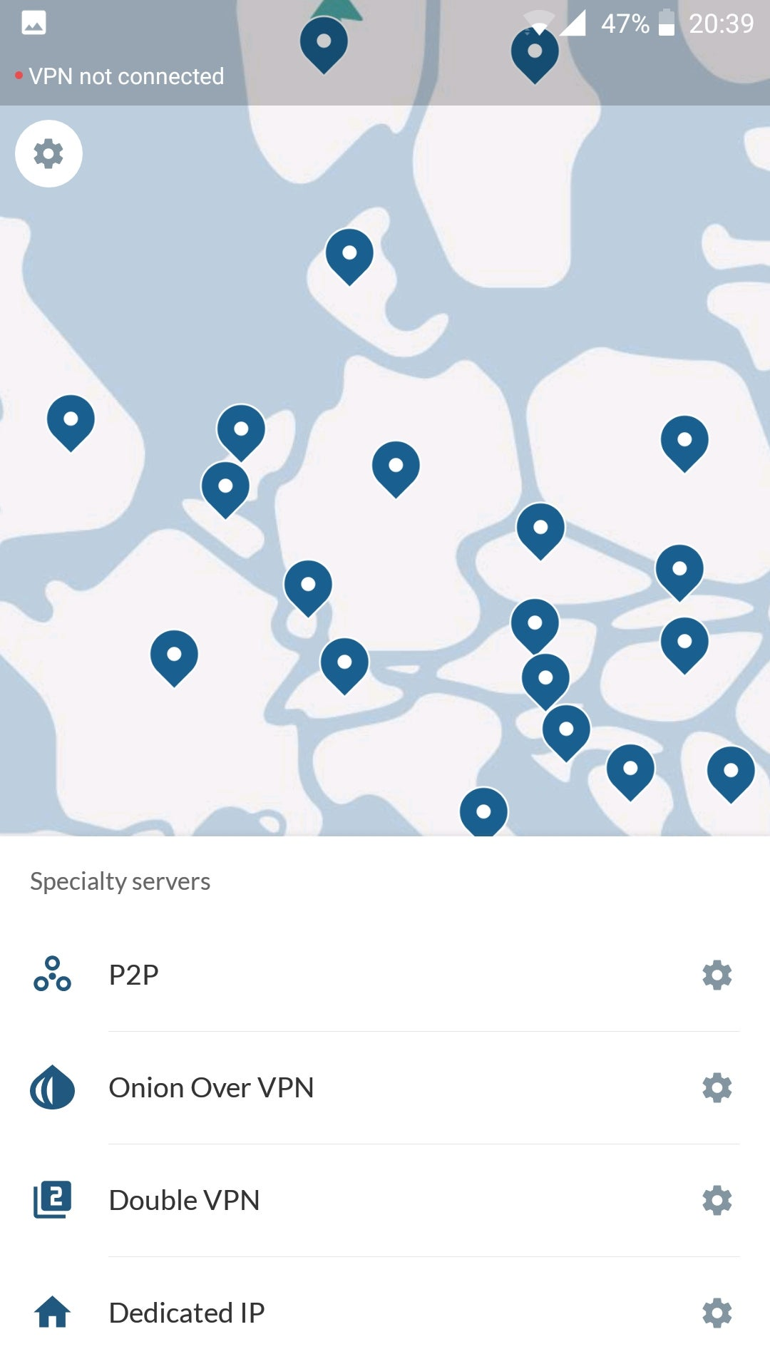 NordVPN Android Map