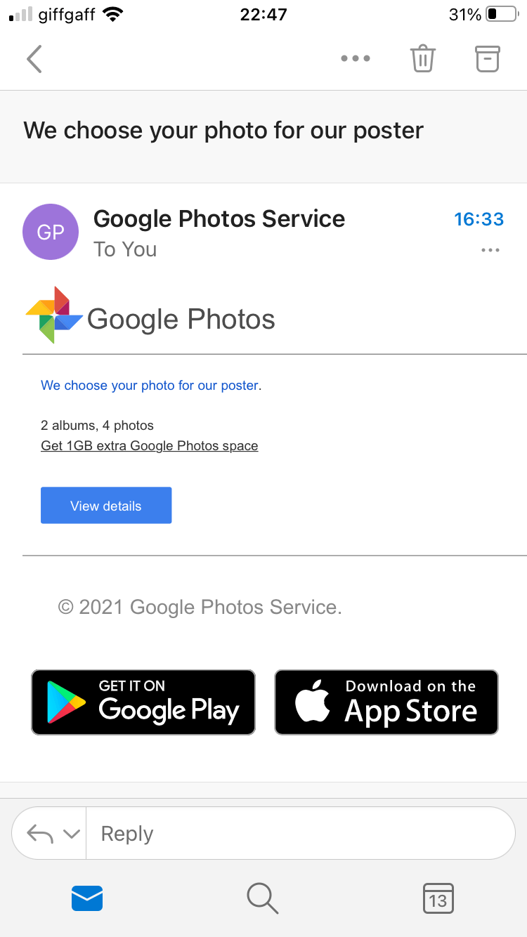 Google Photos scam phishing email