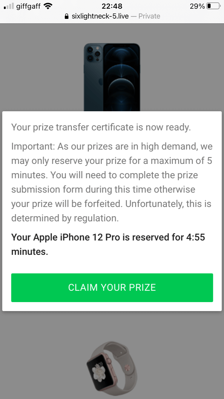 iPhone 12 scam giveaway