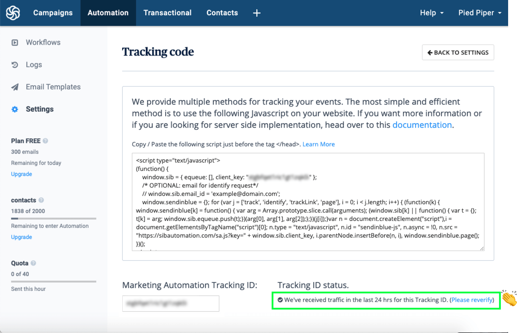 Sendinblue automation tracking